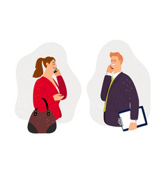 Business conversation on phone vector
