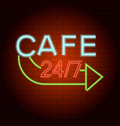 Cafe logo neon light icon realistic style vector