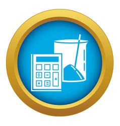 Calculator icon blue isolated vector