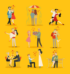 collection happy loving couple vector image