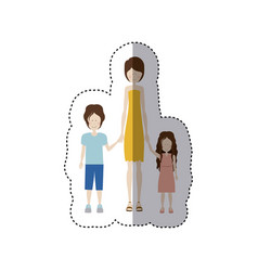 color sticker silhouette with mom and kids vector image