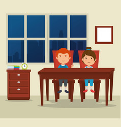 Couple of kids in the dinning room vector