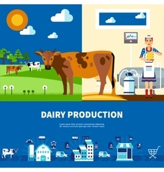 Dairy Production Set vector image