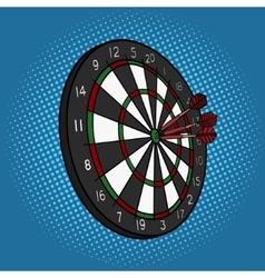 Darts hit target pop art style vector image