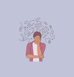 Depression problems tiredness with thoughts vector