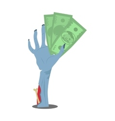 Dollar Bills in Zombie Hand Flat vector
