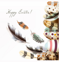 easter greeting card s feathers and eggs vector image