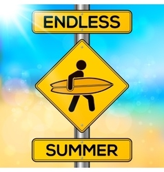 Endless summer yellow road sign on blurred beach vector image