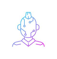 Face microcircuit gradient linear icon vector