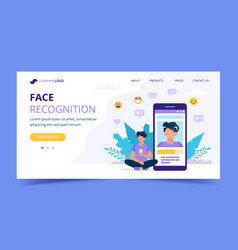 face recognition technology landing page man vector image