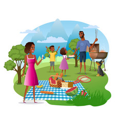 family picnic in national park cartoon vector image