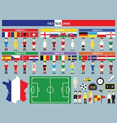 Flags and groups European football championship vector image vector image