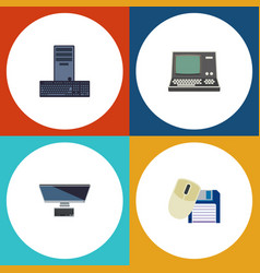 Flat icon computer set of technology pc computer vector