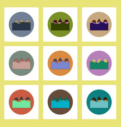 Flat icons set of buildings that has been flooded vector