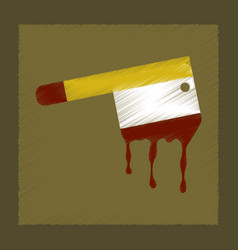 Flat shading style icon knife blood vector