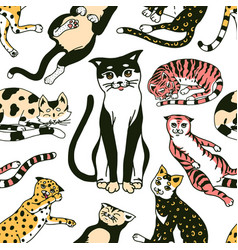 Funny cats seamless pattern or background cute vector