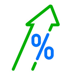 Gdp high growth green arrow and percent icon vector