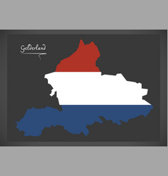 Gelderland netherlands map with dutch national vector