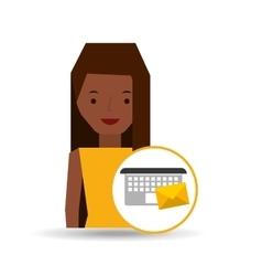 girl cartoon email envelope laptop vector image