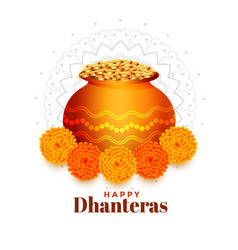 Gold coins pot with marigold flower for dhanteras vector