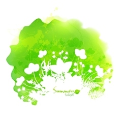 Green watercolor stain with white foliage vector