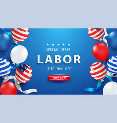 Happy labor day background with realistic elements vector
