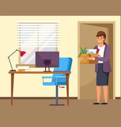 happy successful young business woman holds a box vector image