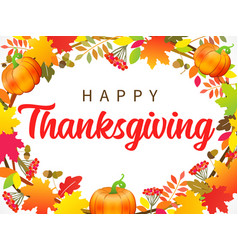 happy thanksgiving with wreath pumpkin leaf vector image