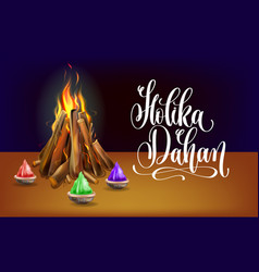 holika dahan celebration poster ti indian winter vector image