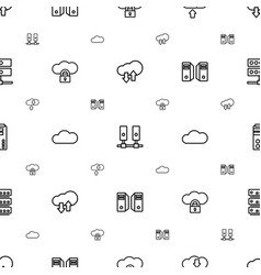 Hosting icons pattern seamless white background vector
