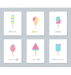 Ice-Cream and Popsicle on Sticks Cards Set vector