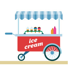 ice cream trolley icon flat isolated vector image