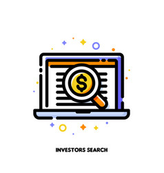 icon magnifying glass for investors angel search vector image