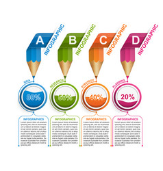 Infographics template with pencil for education or vector