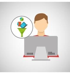 Inteligent man working laptop data analytics vector