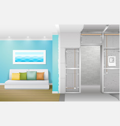 Interior under construction vector