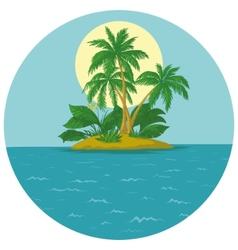 Island with palm and sun vector