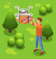 Isometric modern food delivery service template vector