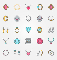 Jewelry colorful icons set earrings ring vector