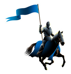 knight on horse carrying a flag vector image