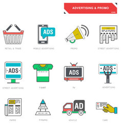 line icons advertising marketing product vector image