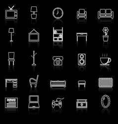 Living room line icons with reflect on black vector image