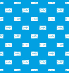 mail envelope with a stamp pattern seamless blue vector image