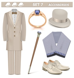 Male Accessories Set 7 vector image