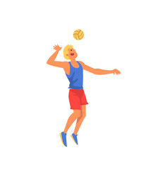 man playing with ball wearing sports uniform vector image