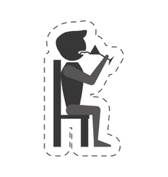 man sit drink wine icon vector image