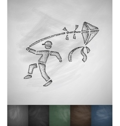 Man with kite icon Hand drawn vector