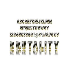 metal brutal alphabet vector image