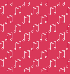 musical note red seamless pattern - music vector image