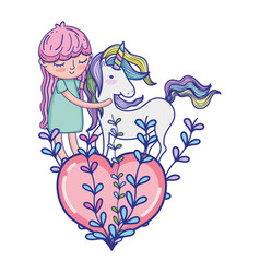 Nice girl with unicorn and heart with branches vector